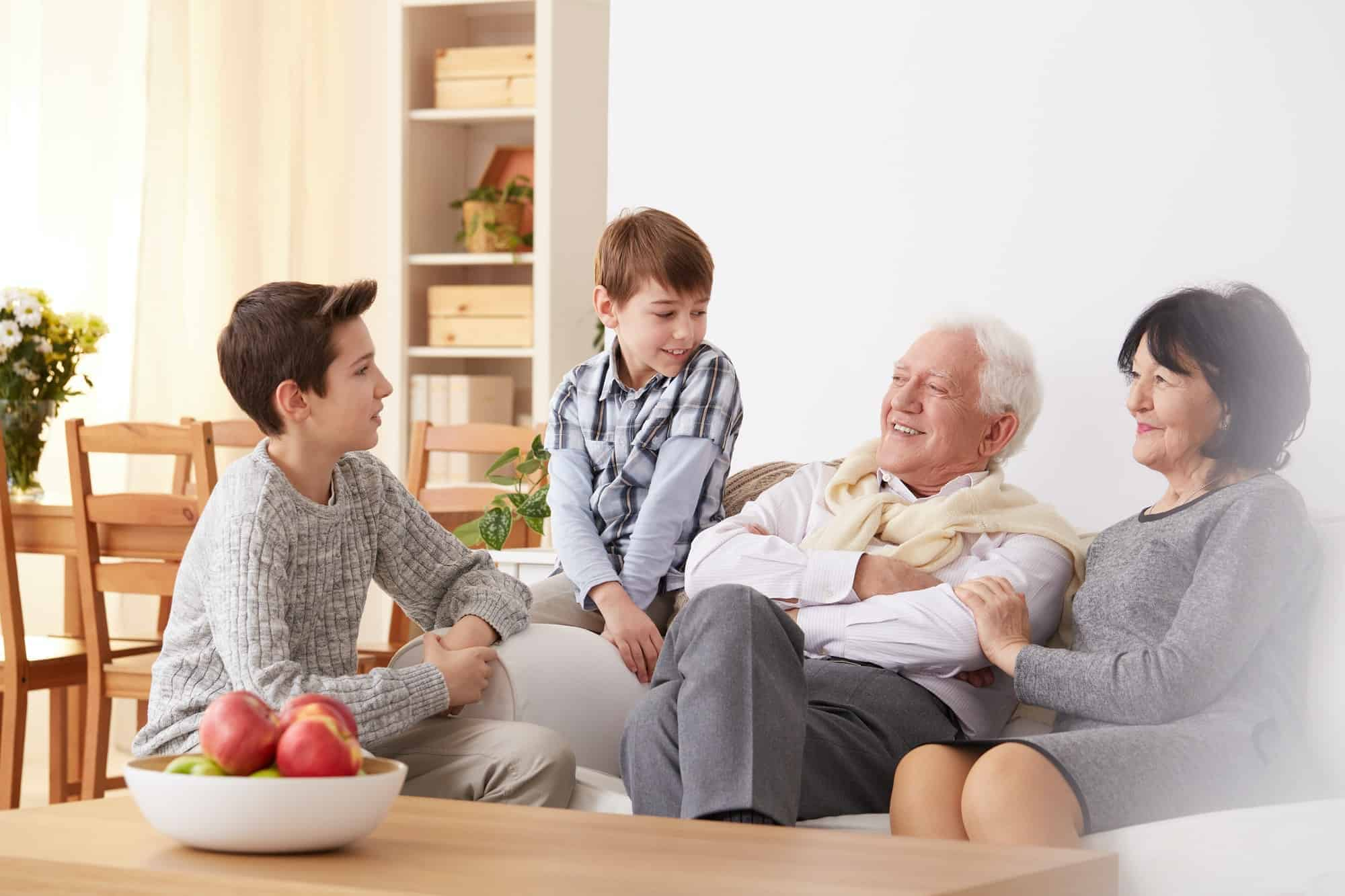 Boys talking with grandparents
